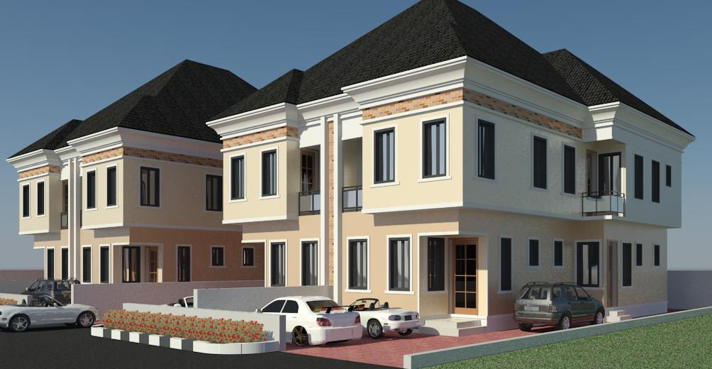A picture of twin duplex the couple built at Magodo.