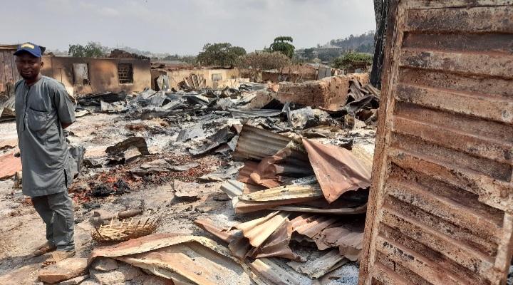 Some burnt shops at Sasha