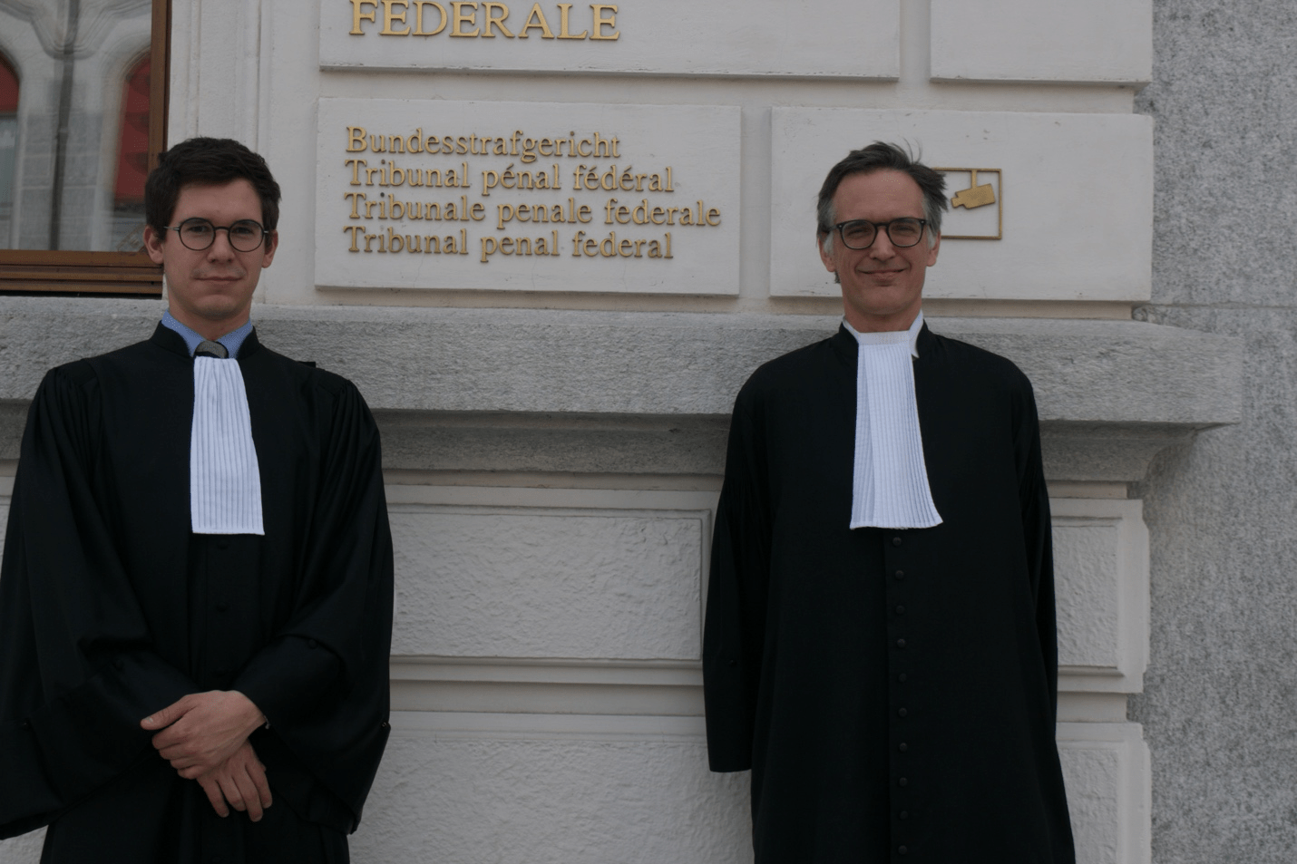 [Romain Wavre and Alain Werner, two lawyers representing four of the seven Liberians who filed a case against Alieu Kosiah in Switzerland. New Narratives/James Harding Giahyue ]