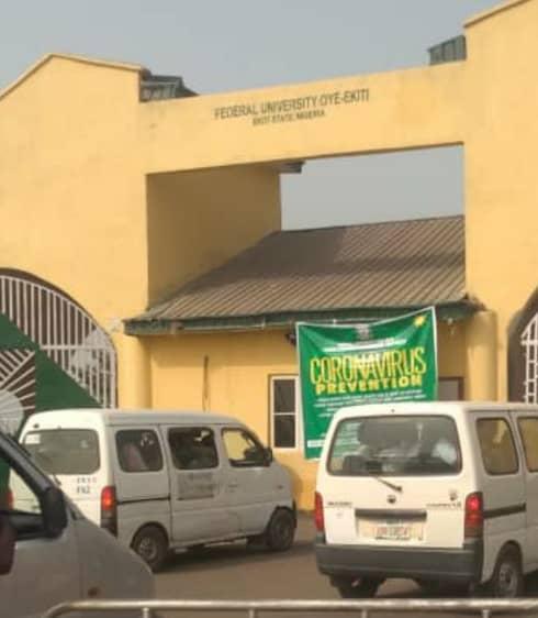 The main gate of the Federal University, Oye-ekiti (FUOYE)