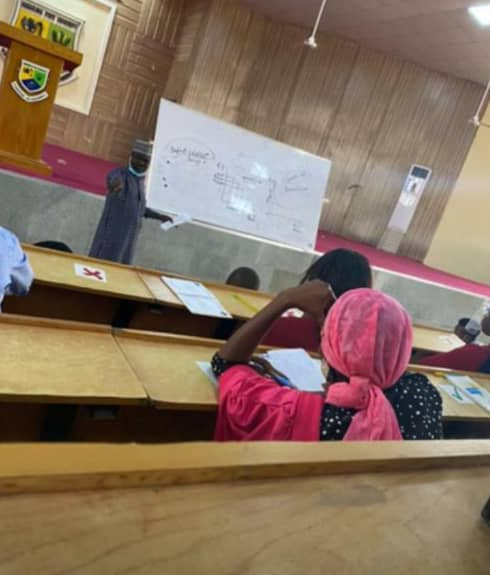 Students maintaining social distancing in classes at Nassarawa state University.