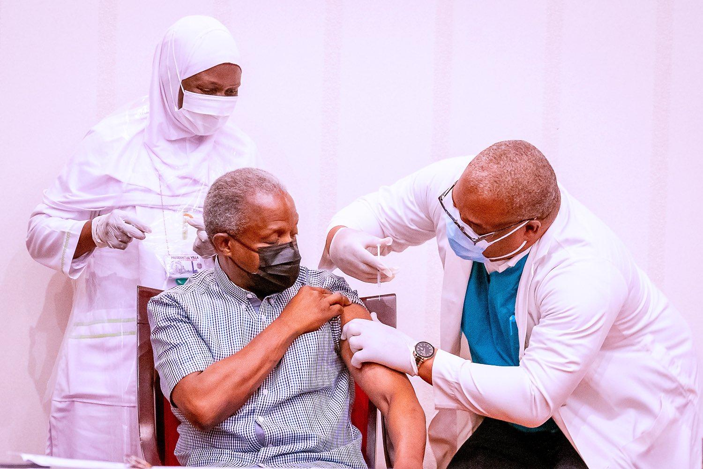 Vice President Yemi Osibanjo takes the AstraZeneca COVID-19 vaccine. [PHOTO: Presidency]