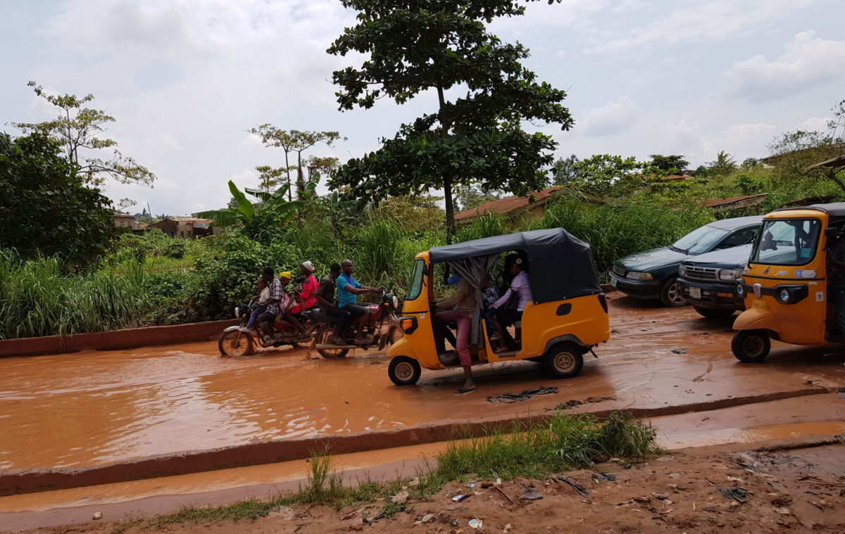 Flooded road to Ijeja, Agbado Isoye Water Scheme's host community
