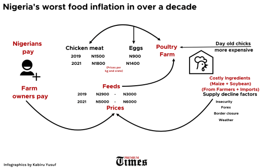 Infographics showing Nigeria's food inflation factors and effects