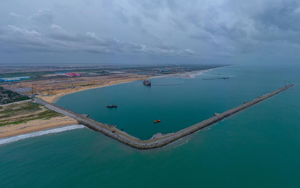 Aerial view of the ongoing Lekki Port project inspected by Lagos State Governor, Mr. Babajide Sanwo-Olu during his working visit to the Lekki Free Trade Zone, Ibeju-Lekki, on Friday, March 19, 2021.