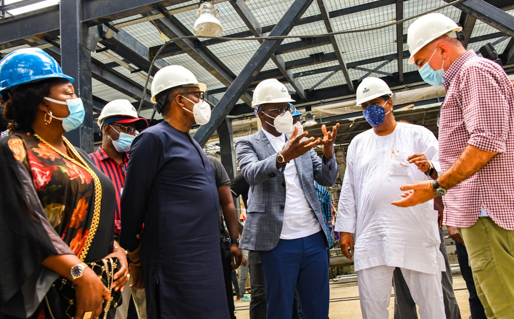 L-R: Commissioner for Commerce, Industry & Cooperatives, Dr. (Mrs) Lola Akande; President, Dangote Group, Alhaji Aliko Dangote; Lagos State Governor, Mr. Babajide Sanwo-Olu; Group Executive Director, Strategy, Capital Projects and Portfolio Development, Dangote Industry Ltd., Mr. Devakumar Edwin and Chief Operations Officer, Dangote Oil Refinery, Mr. Giusappe Surace, during the Governor's working visit to Dangote Refinery at the Lekki Free Trade Zone, Ibeju-Lekki, on Saturday, March 20, 2021.