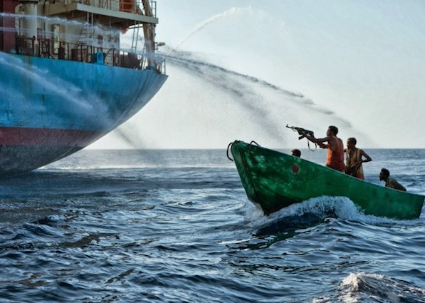 Somali pirates attacking a vessel in the Gulf of Guinea.