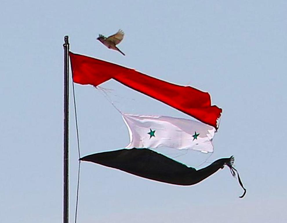 The war torn flag of Syria.