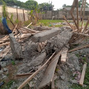 The fallen concrete that killed a carpenter and injured a bricklayer at Badagry Grammar School, Lagos State