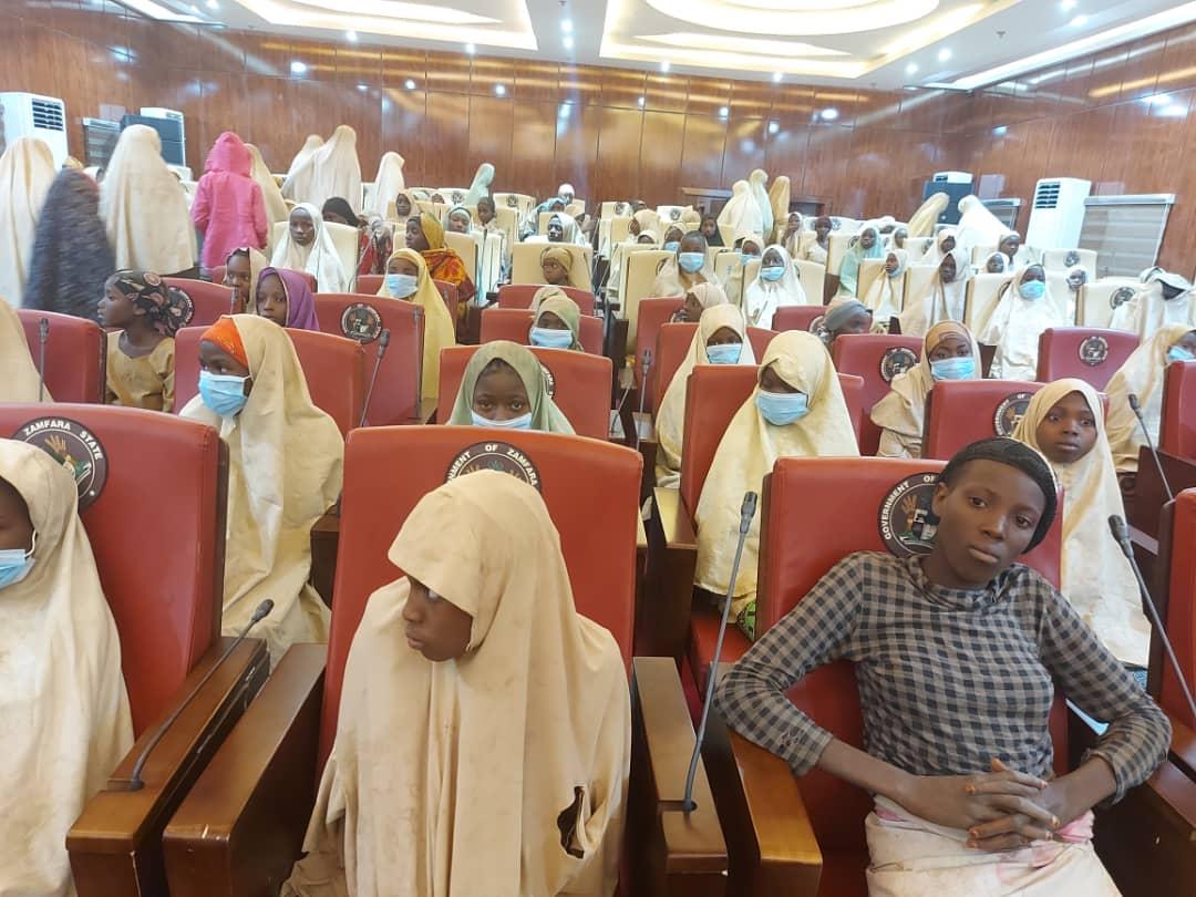 Released Zamfara Jangebe Schoolgirls, (PHOTO CREDIT: Zamfara Govt House Press)