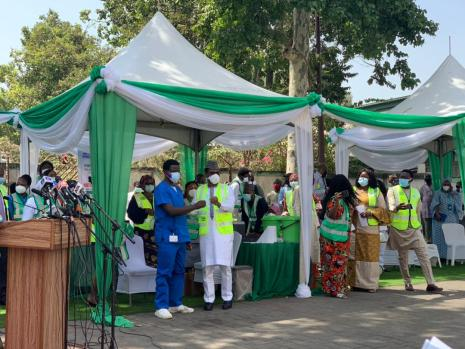 the Executive Director of the National Primary Health Care Development Agency (NPHCDA) Faisal Shuaib administering the vaccines on Friday