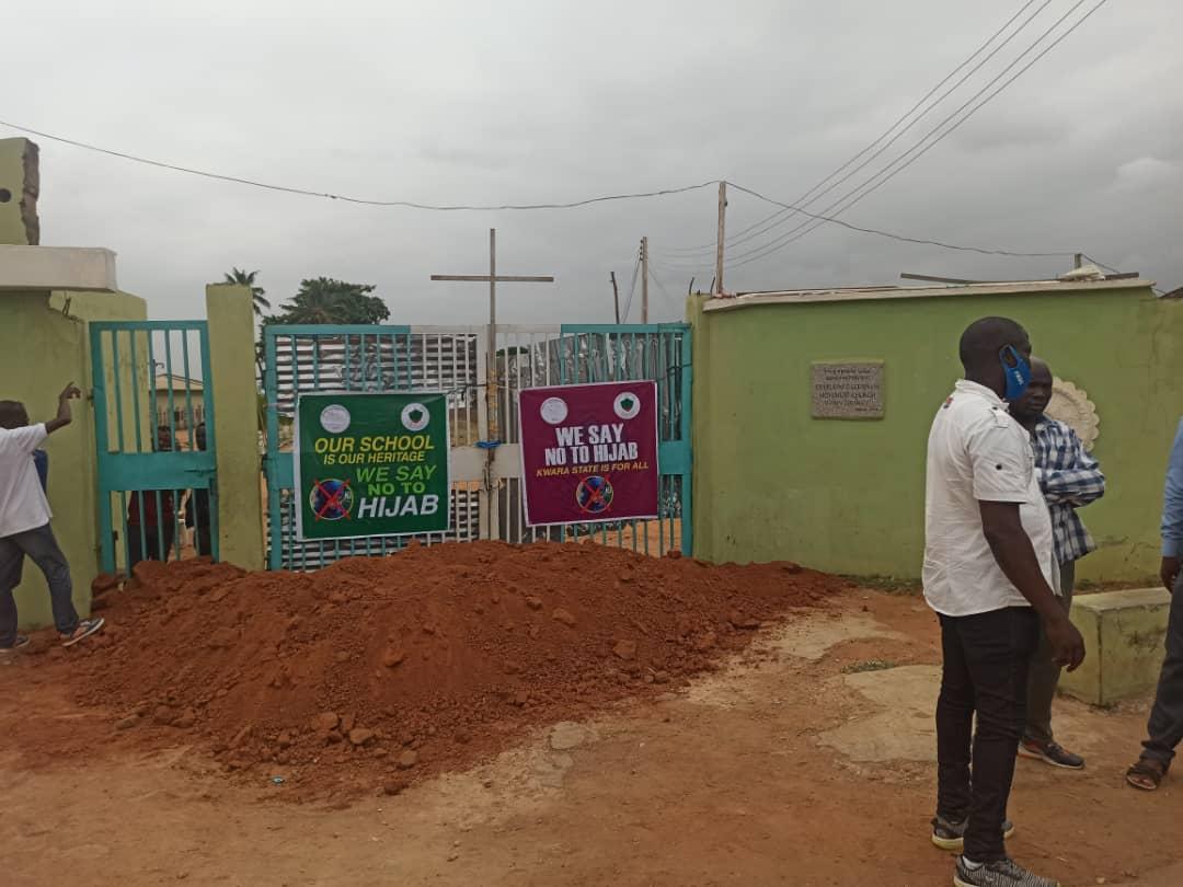 Sand-filled entrance at C&S College, Sabo Oke