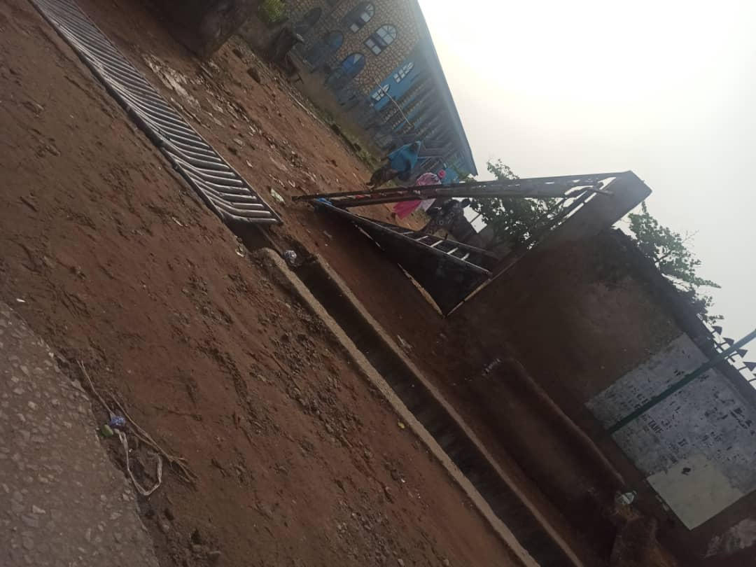 Destroyed gate at Baptist Secondary School, Surulere