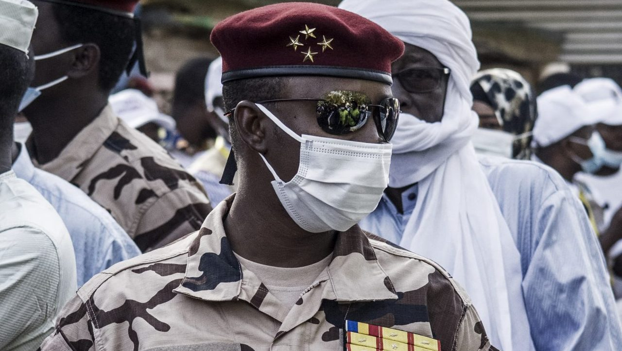 Four Star General and head of the Republican Guard in Chad, Mahamat Idriss Déby Itno (C), 37, son of Chadian President Idriss Deby Itno is seen at a polling station in N'djamena, on April 11, 2021. (Photo by MARCO LONGARI / AFP)