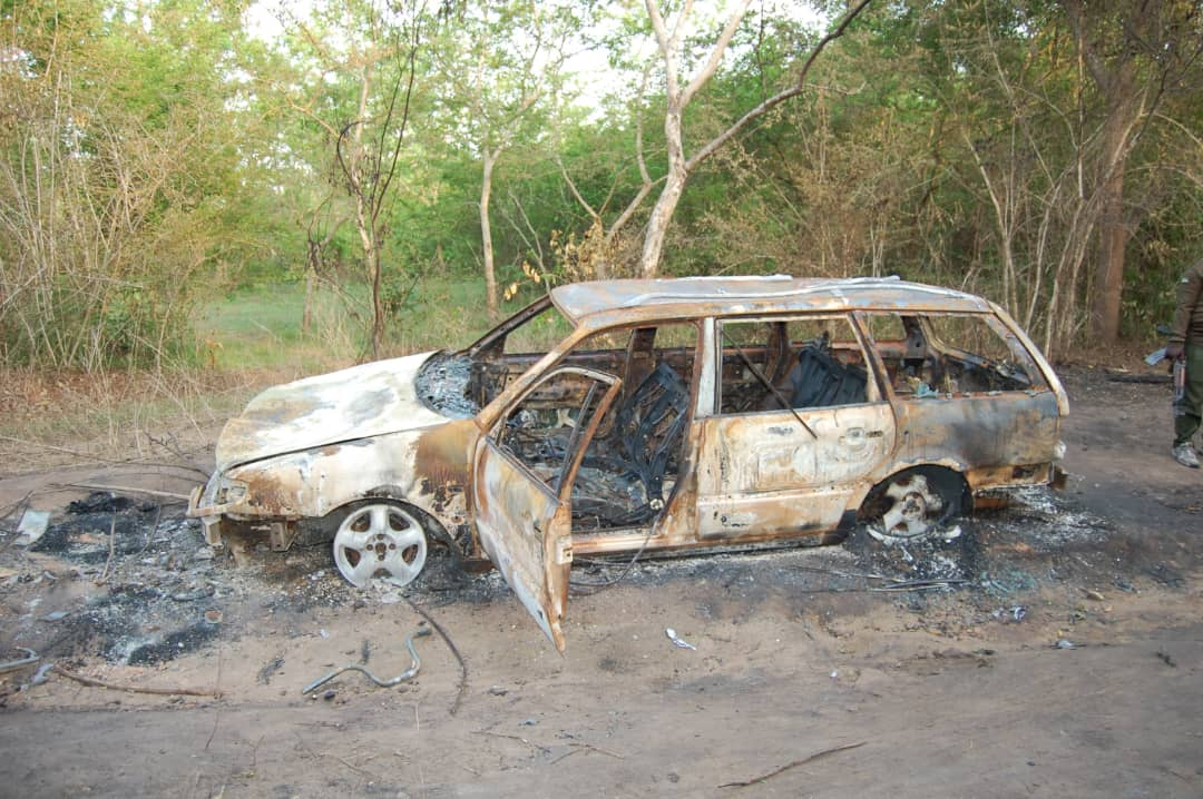 Wreckage of vehicles and motorbikes allegedly burnt by armed herders on April 10 in Imeko Afon LGA during an attempt to rescue a doctor and a nurse abducted at Olubo village along Abeokuta-Imeko Road.