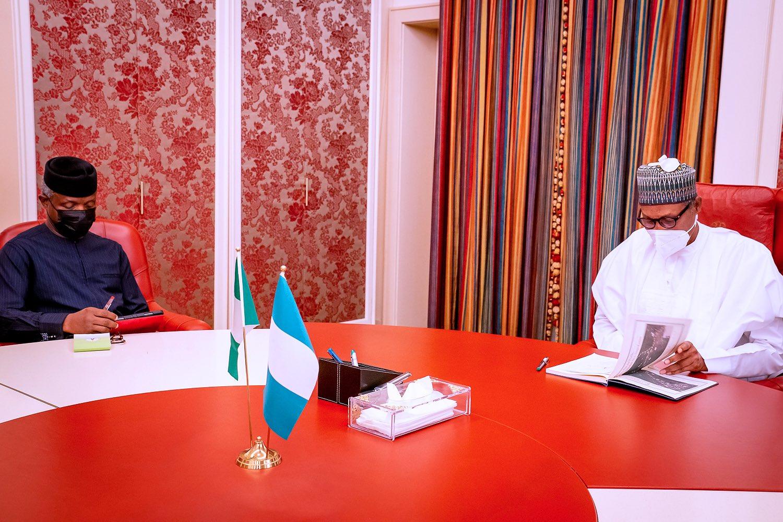 President Buhari received a briefing from Vice-President Osinbajo [PHOTO CREDIT: [PHOTO CREDIT: @BashirAhmaad]