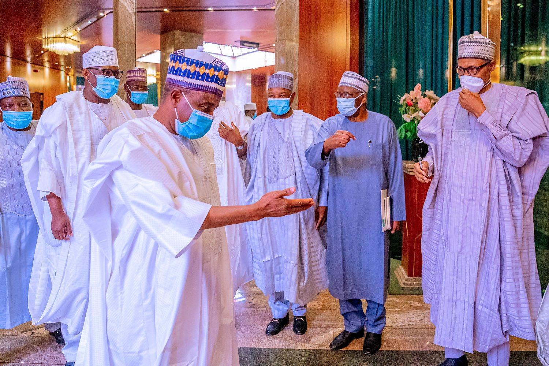 President Buhari meets with Northern governors (PHOTO CREDIT: @BashirAhmaad)