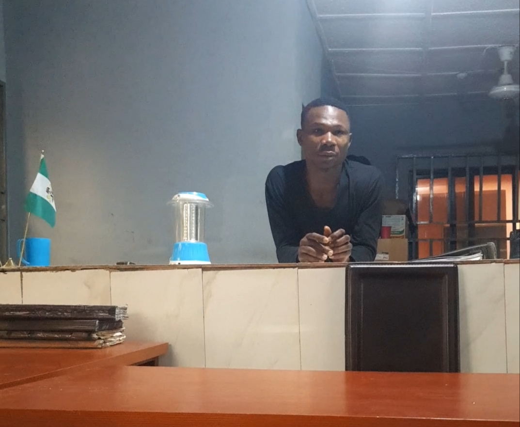 Peter Onyiuke at the police station