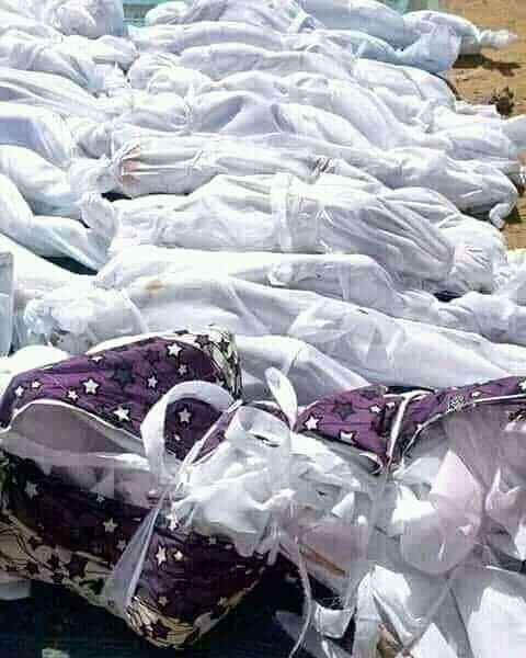 A mass burial for the victims who lost their lives