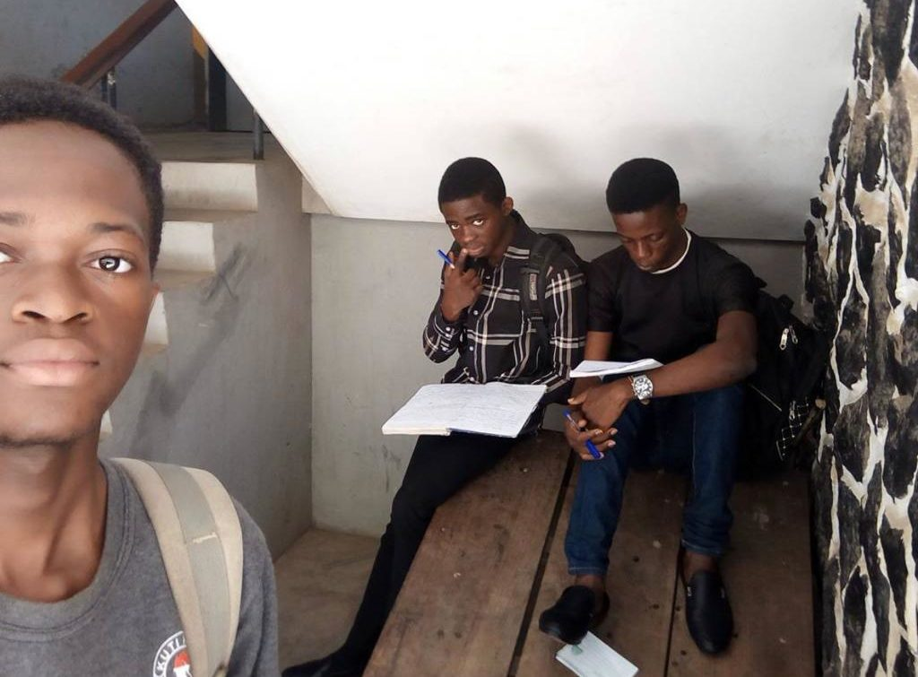 Martins (first from right) preparing for an exam