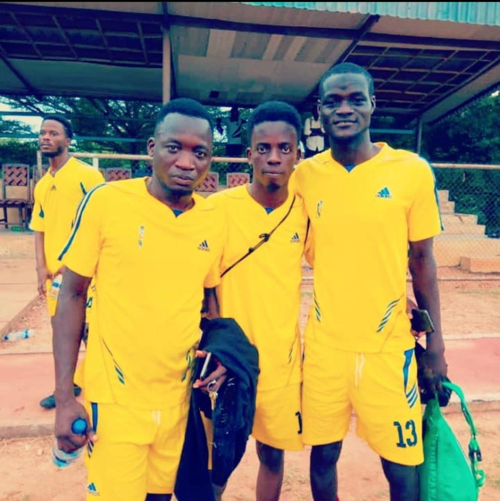 Matins (middle) after a novelty match, one of the extracurricular activities he participated in