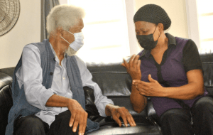 Wole Soyinka and wife of the late Afenifere spokesperson, Joe Okei-Odumakin, during a condolence vsit to the Odumakin family residence in Omole Estate, Lagos, on Wednesday.
