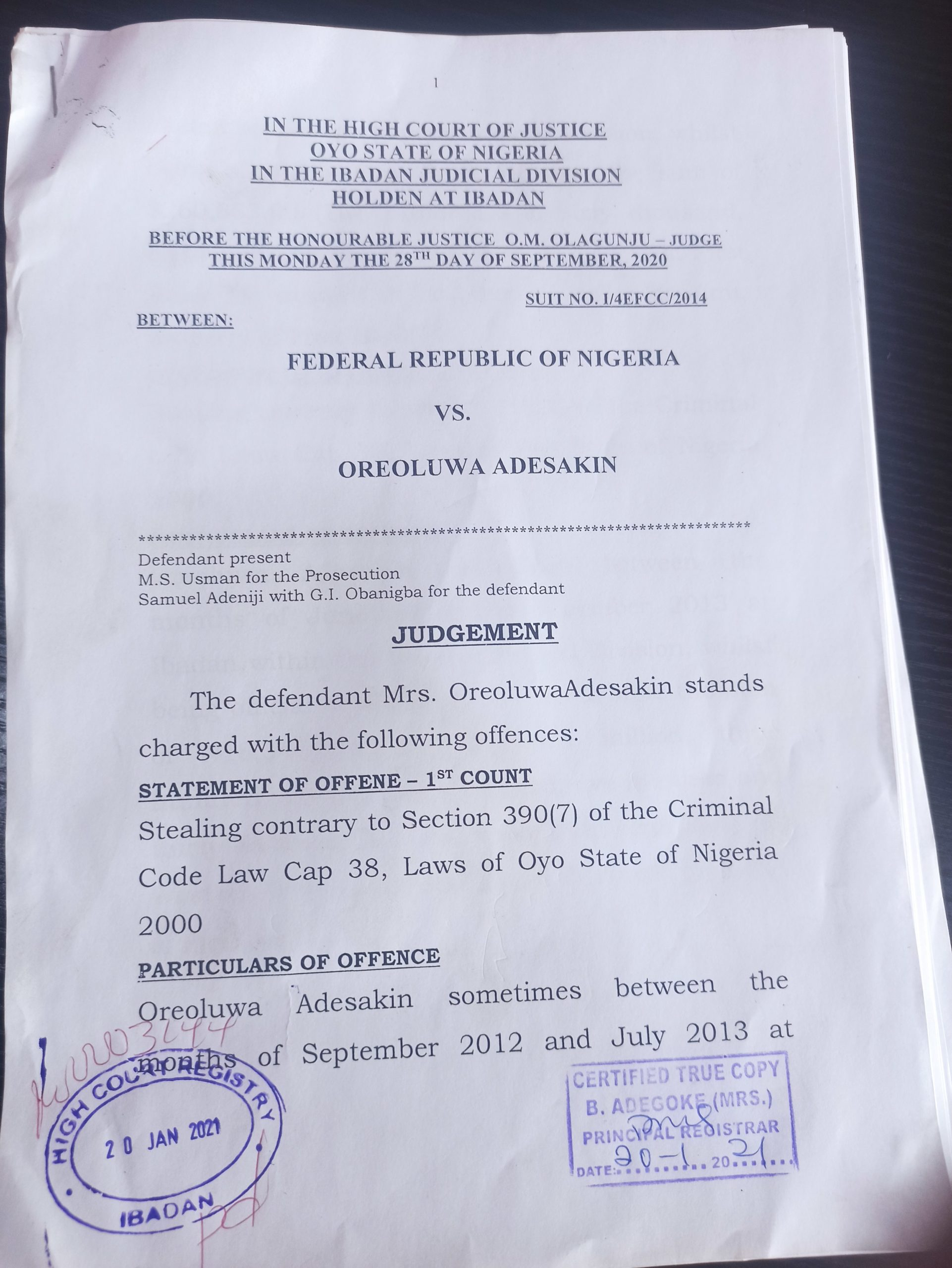 Copy of CTC obtained after extortion