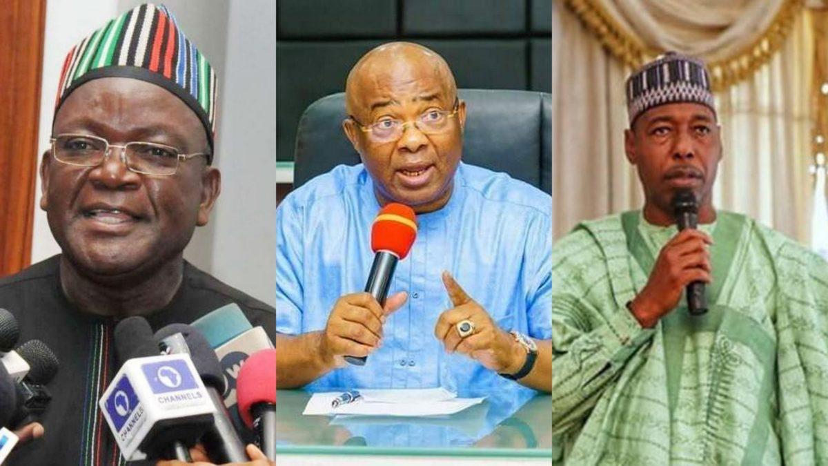 Governors Samuel Ortom of Benue, Hope Uzodinma of Imo and Babagana Zulum of Borno.