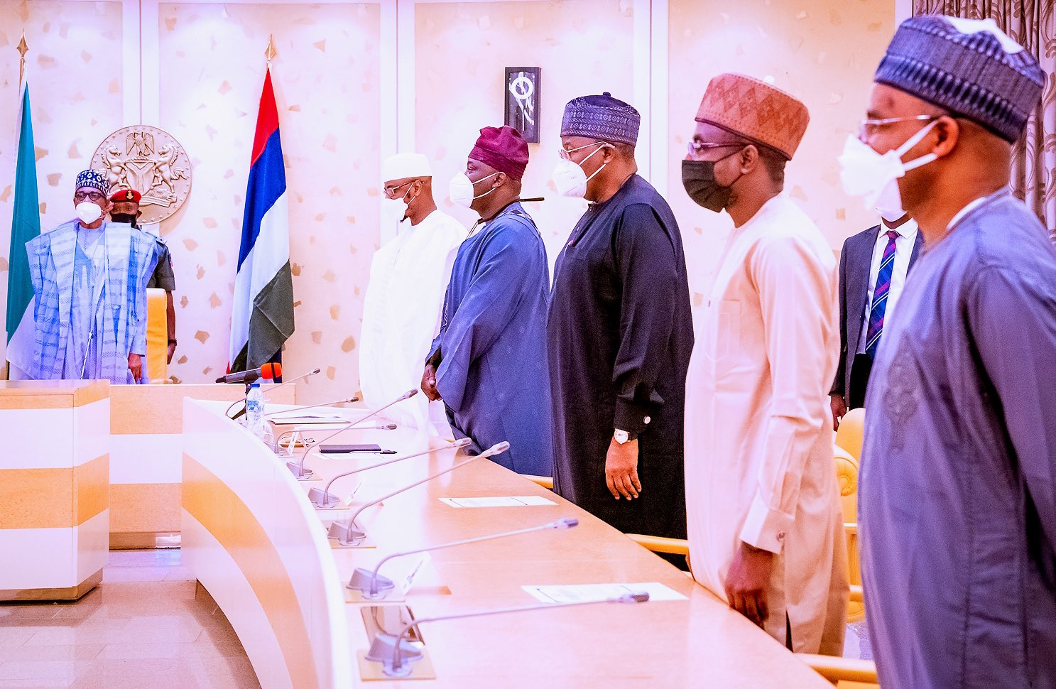 President Muhammadu Buhari launches the National Policy for the Promotion of Indigenous Content in the Nigerian Telecommunications Sector and revised National Digital Policy for SIM Card registration at the State House, Abuja.