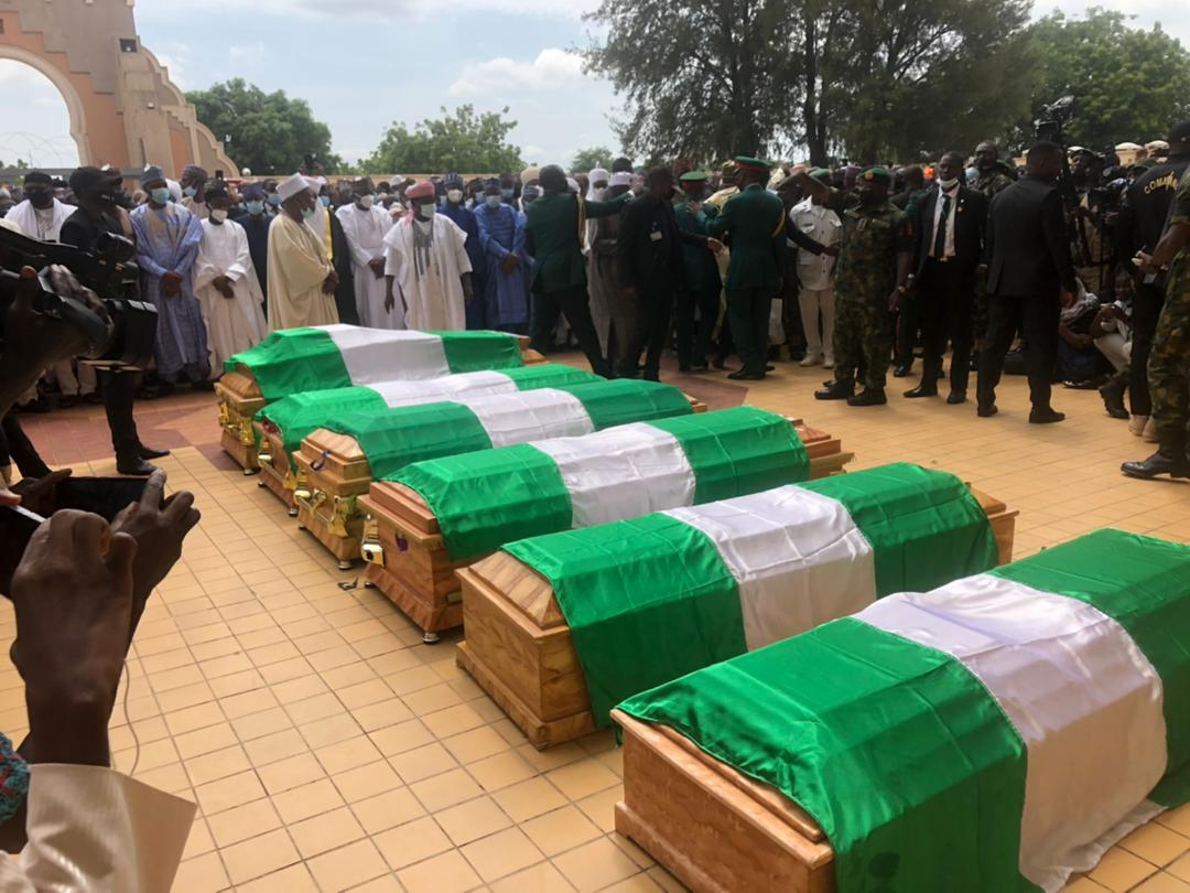 Funeral prayer has commenced. It will be followed immediately by the burial at the military cemetery