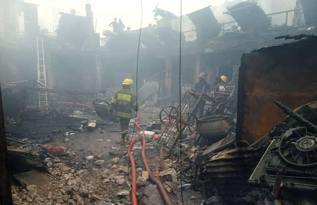 Engulfed spare parts stores at the Ladipo market in Mushin, Lagos State.