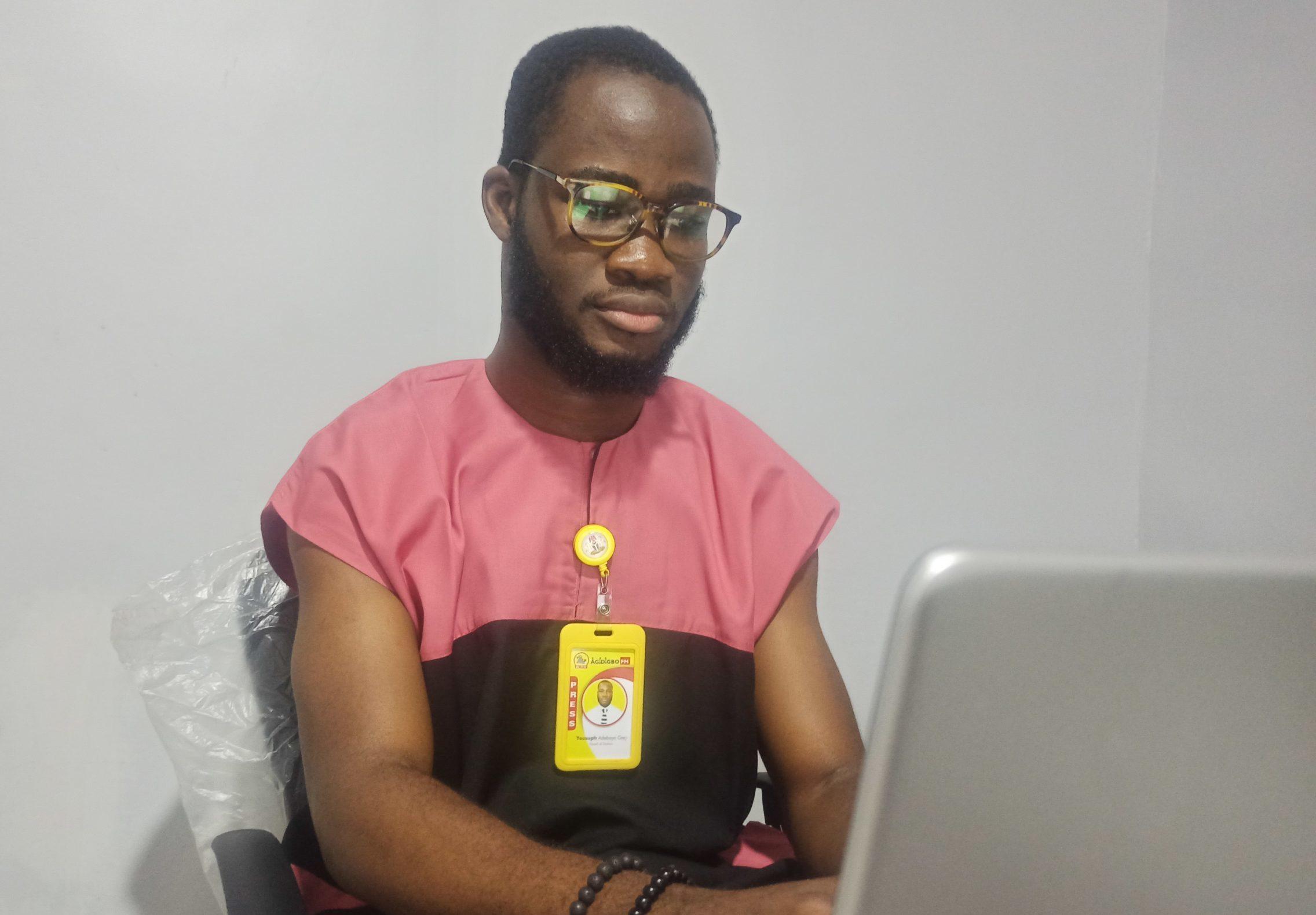 Mr Adebayo in his office