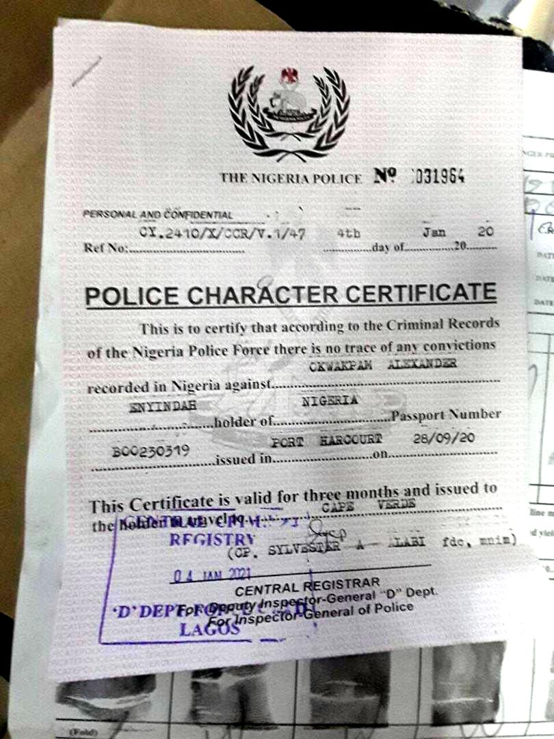 Proof of police character report