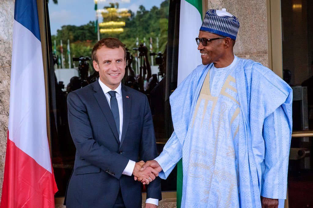 President Emmanuel Macron and President Muhammadu Buhari meeting in France on Post COVID-19 ties. Photo credit: The SUN.