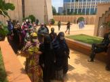 Wife of the late Army Chief, Fatima Attahiru arriving the National mosque, venue of the funeral prayer. She is flanked by friends and relatives