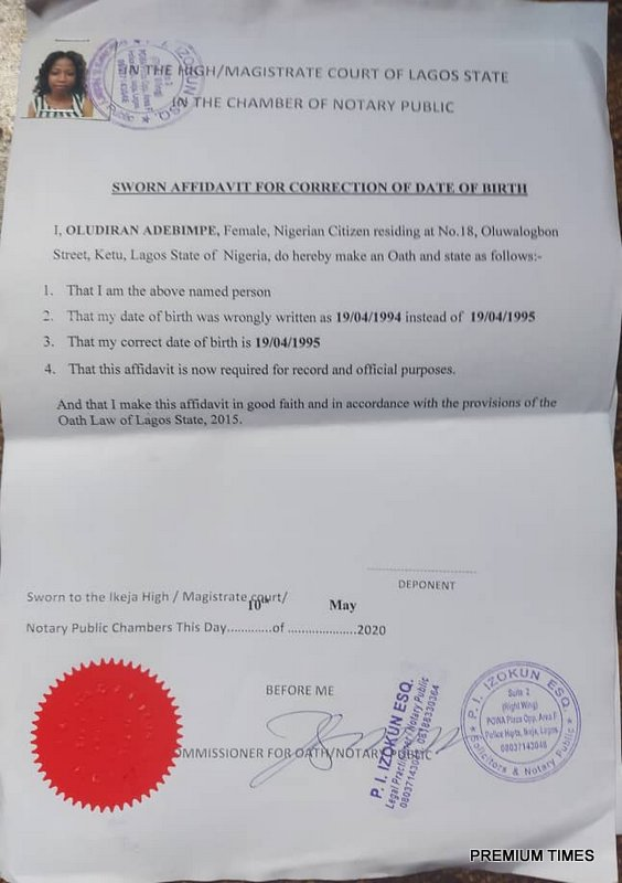 An affidavit from a Notary Public in Lagos.