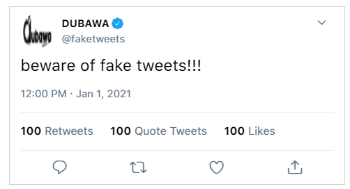 An example of tweet created by DUBAWA on the tool