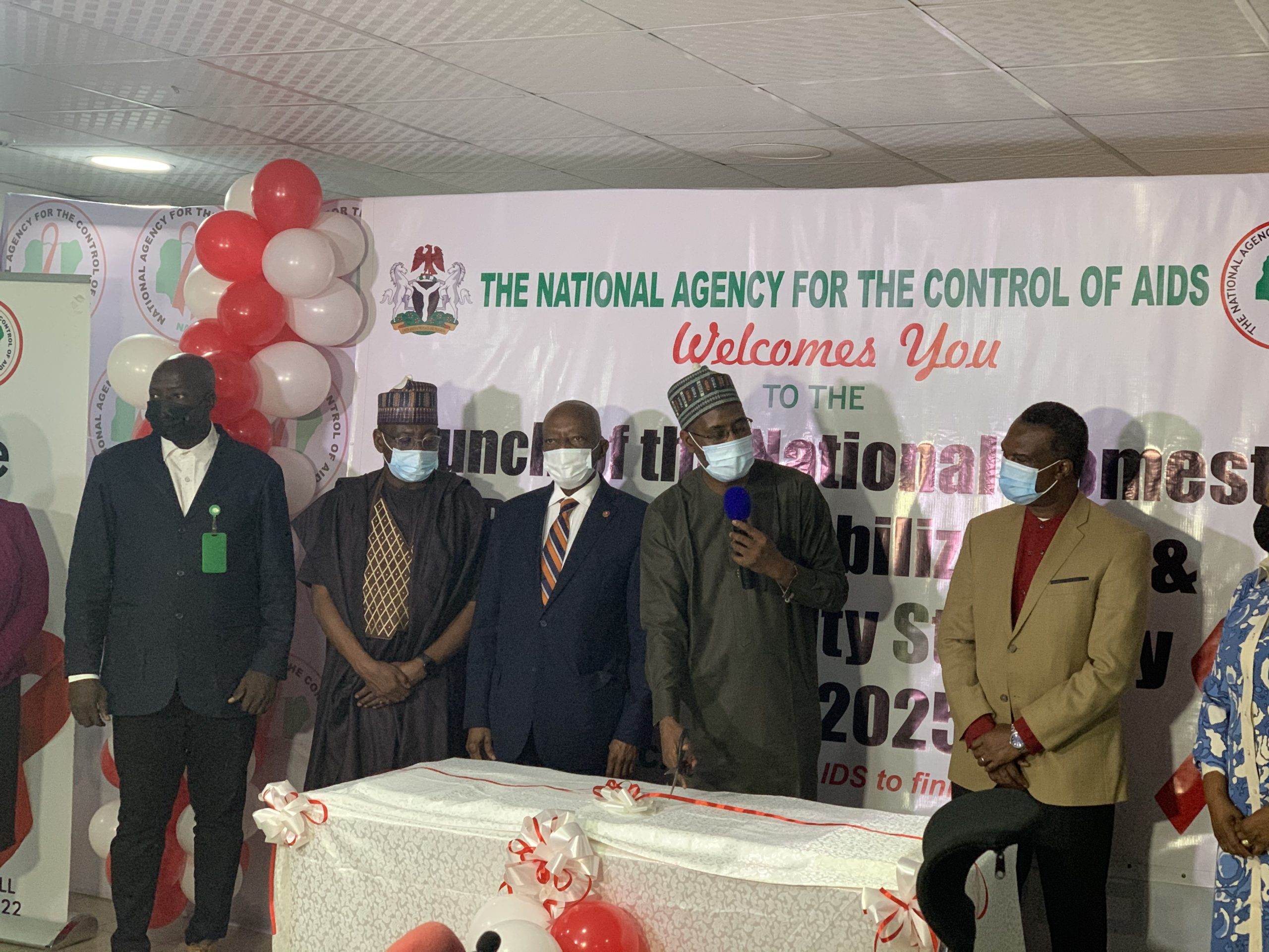 The Director General of the National Agency for the Control of AIDS (NACA), Gambo Aliyu, Country Director of UNAIDS, Erasmus Morah, the chairman house committee on AIDS, Tuberculosis and Malaria, Abubakar Dahiru and other stakeholders at the launch of the National Domestic Resource Mobilisation and Sustainability Strategy on Wednesday.