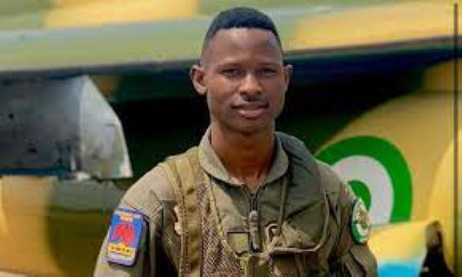 Fl. Lt A. Dairo who ejected and escaped from bandits after his jet was shot while on a mission in the skies of Zamfara state