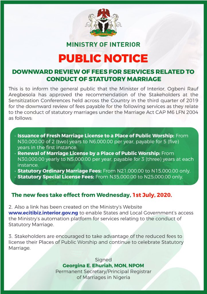 Interior ministry's circular on reduction of statutory marriage fees