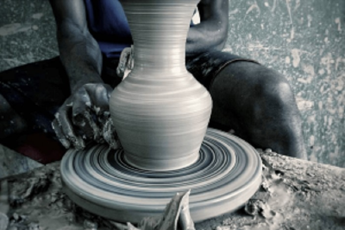 Modern method of production at Ushafa Cultural Pottery Centre.