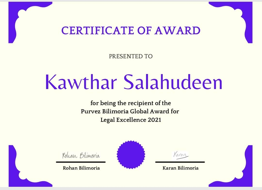 Certificate presented to Kawthar Salaudeen for winning the AUD5,000 prize money