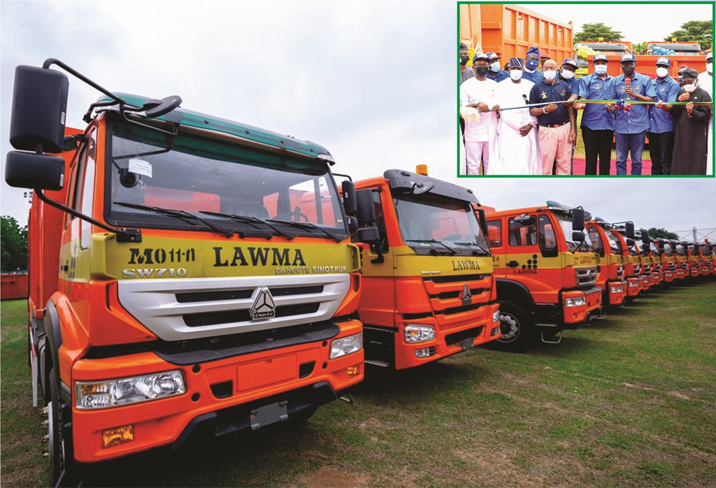PIX 0001: The brand new compactor trucks and Double Dino Bins commissioned by Governor Babajide Sanwo-Olu for LAWMA at Lagos House, Ikeja, on Wednesday, August 4, 2021. INSET: L-R: Special Adviser to Lagos Governor on Drainage and Water Resources, Mr. Joe Igbokwe; Caretaker Committee Chairman, Lagos chapter of the All Progressives Congress (APC), Alhaji Tunde Balogun; Director, Human Access Management, Dangote Group, Mr. Ebenezer Ali; Managing Director/CEO, Lagos Waste Management Authority (LAWMA), Mr. Ibrahim Odumboni; Commissioner for the Environment & Water Resources, Mr. Tunji Bello; Lagos State Governor, Mr. Babajide Sanwo-Olu; his deputy, Dr. Obafemi Hamzat and Executive Director, Dangote Group, Engr. Mansour Ahmed.