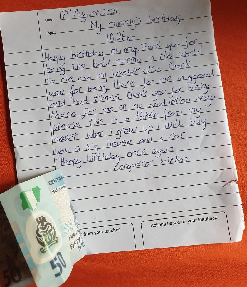Touching birthday note from a son to his mum