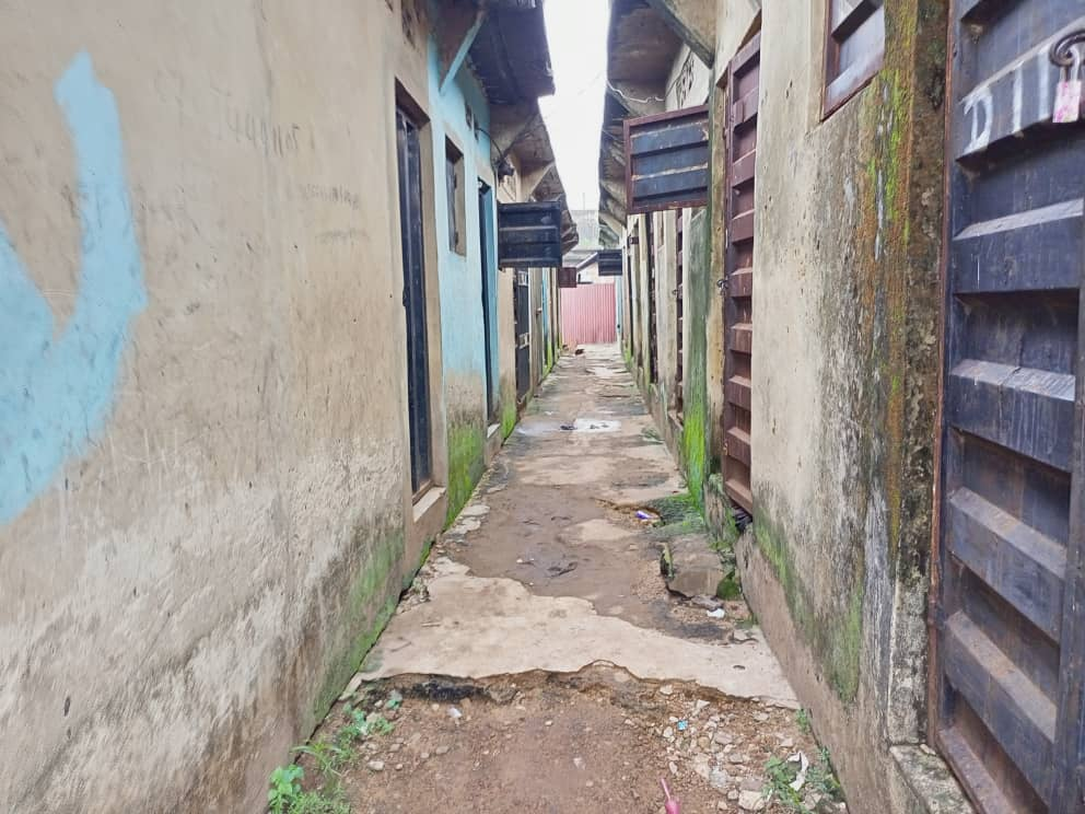 Deserted houses of traders at the new Artisan market in Enugu where cholera broke out.