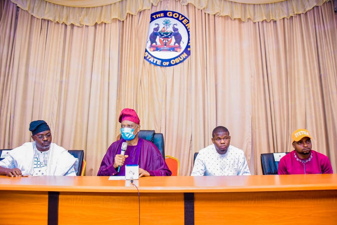 Osun state students from UNIJOS. Photo: Office of the senior special assistant to the governor on students' affairs and social mobilisation.