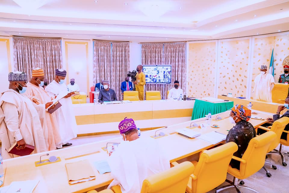 President Muhammadu Buhari sworn-in new National Commissioners of the Independent National Electoral Commission, INEC.