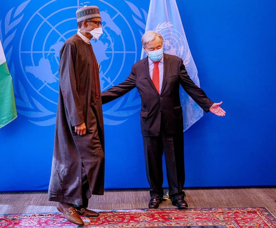 President Muhammadu Buhari delivers his statement at the 76th UN General Assembly and holds a Bilateral Meeting with UN Secretary General in New York. [PHOTO: Presidency]