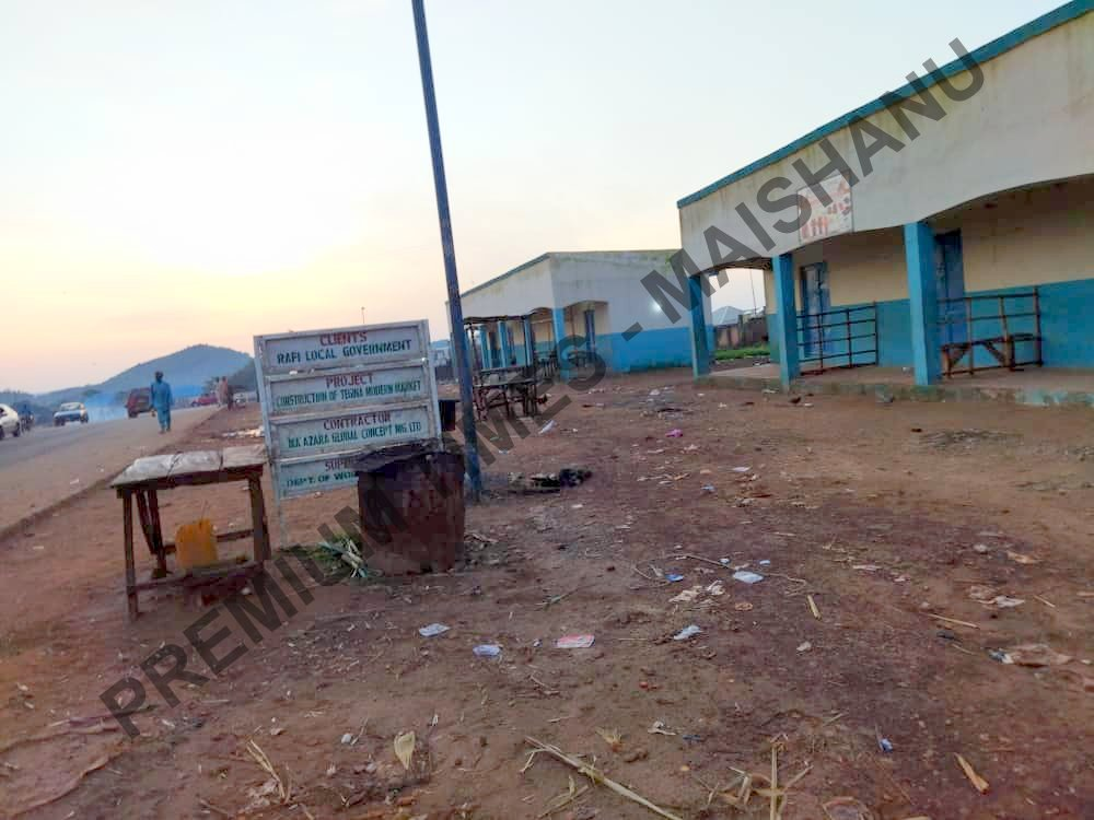 Some of the shopping complex in Tegina town robbed by armed bandits during school abduction.