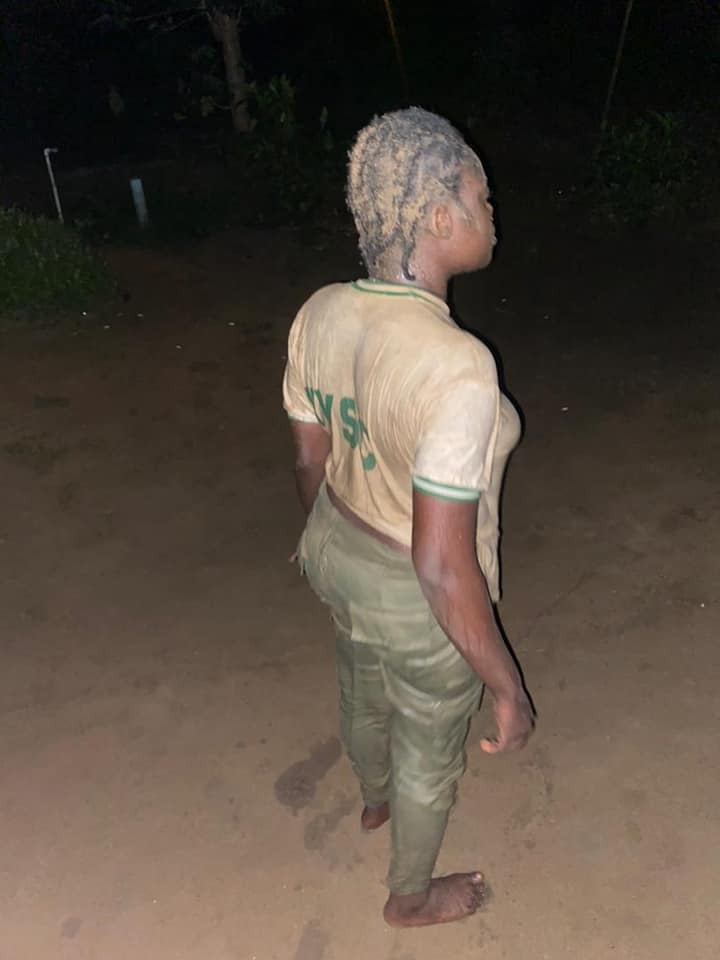 The corps member, Ifeyinwa Ezeiruaku, is seen in the 32-seconds clip, kneeling down, while the soldier, identified as Chika Anele, a lieutenant.